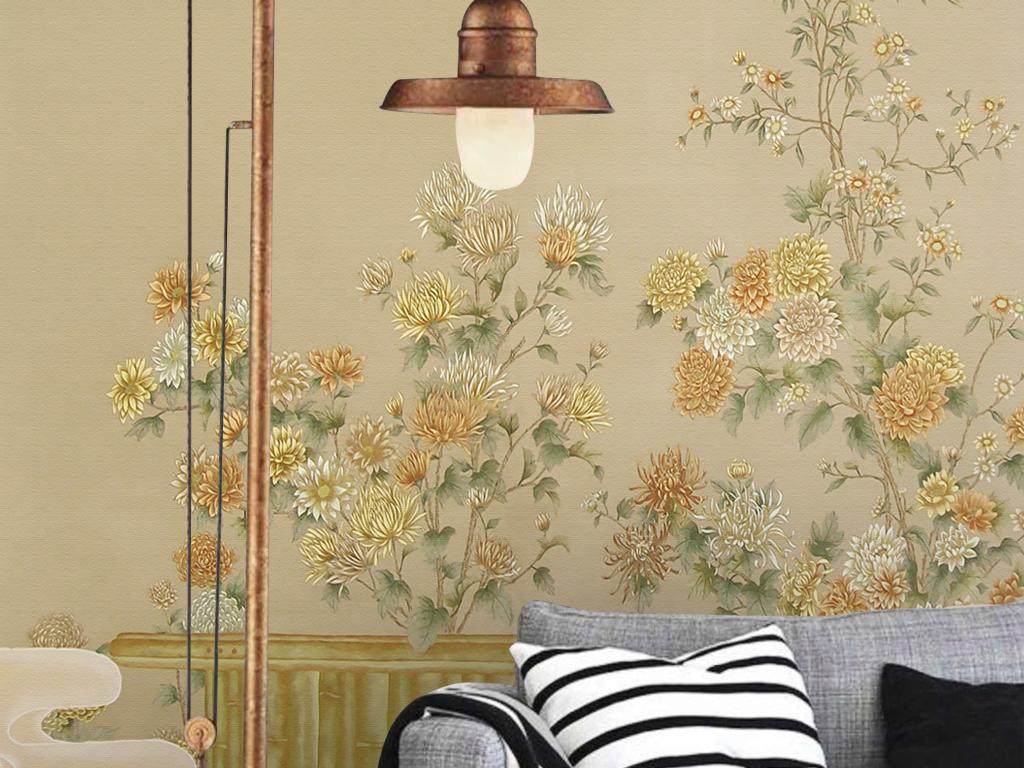 欧式新中式手绘工笔牡丹花卉祥云玄关背墙