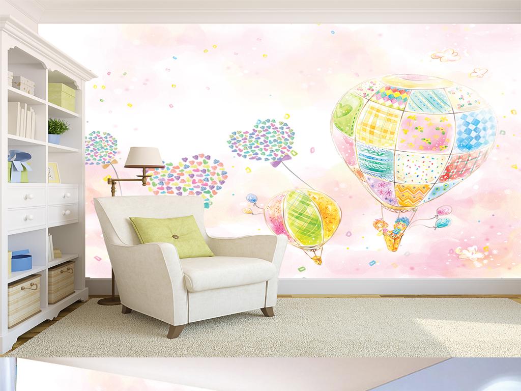 手绘唯美爱心热气球儿童房电视背景墙