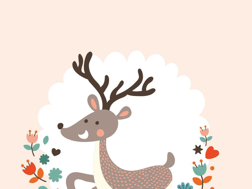 装饰画 北欧装饰画 动物装饰画 > 手绘动物梅花鹿麋鹿狐狸简约无框画