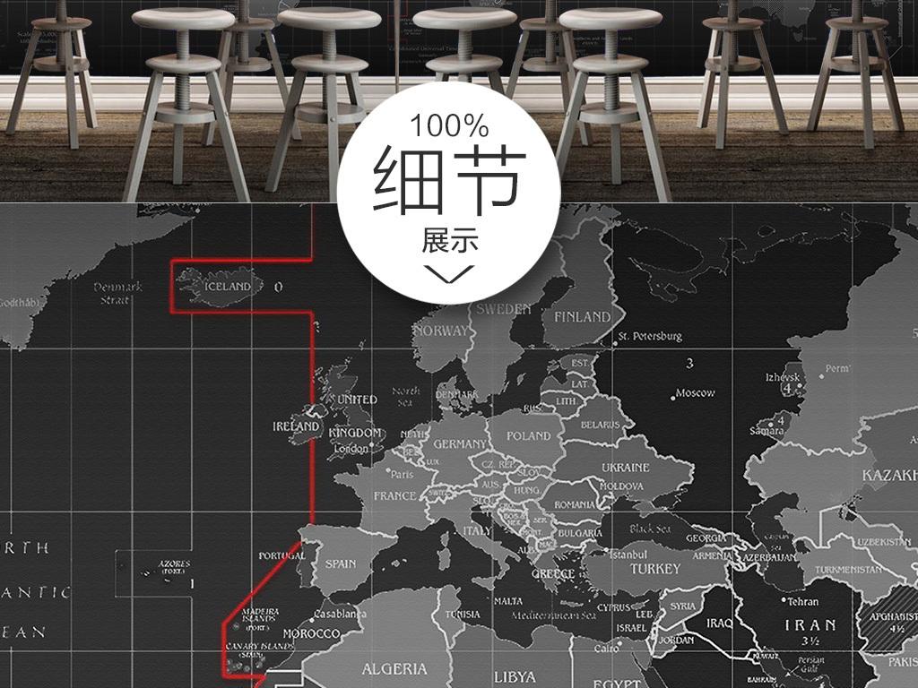 个性科技世界地图壁画背景墙