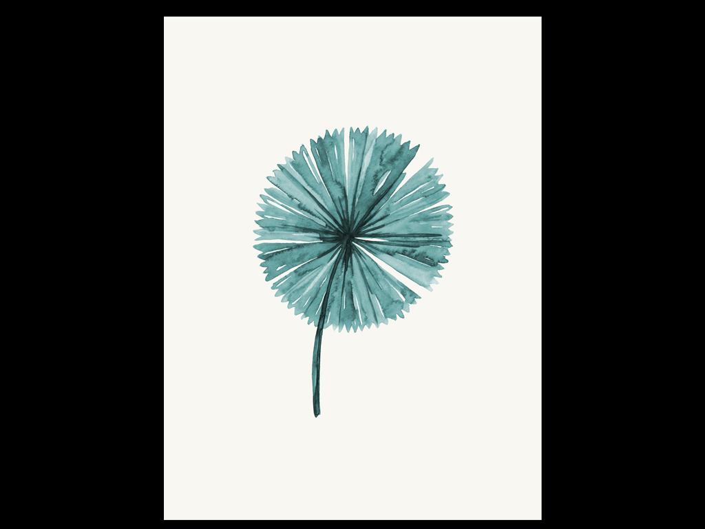 手绘复古欧式植物绿色叶子芭蕉蕨类龟背竹棕榈叶进口画芯欧美画芯画芯