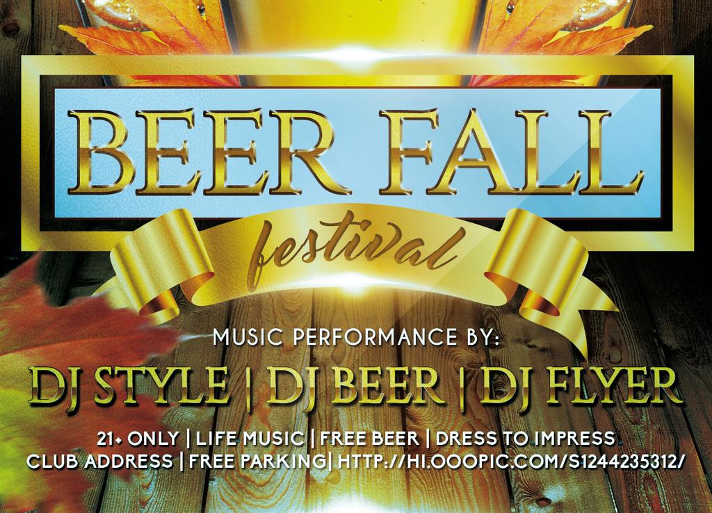 金秋时节啤酒节收获季酒吧促销活动宣传海报