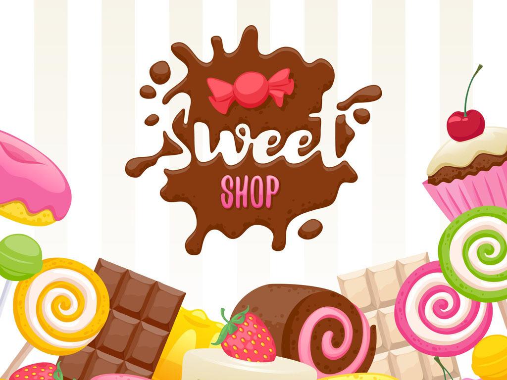 糖果店广告背景卡通甜点蛋糕糖果素材棒棒糖