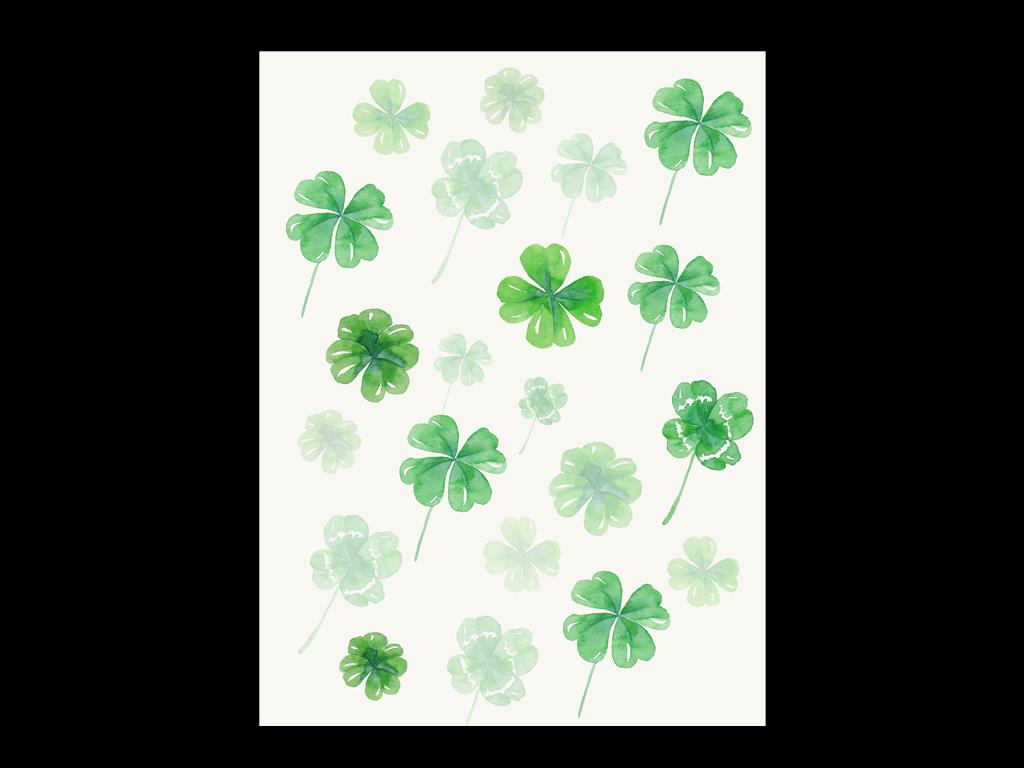 手绘复古欧式多肉植物抽象绿色四叶草幸运草满天星进口画芯欧美画芯画