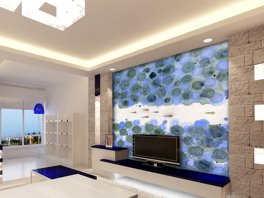 现代中式水墨手绘高清荷叶小鱼电视背景墙