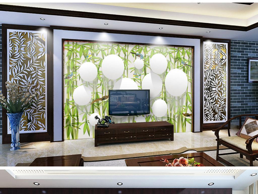 手绘竹林鸟的天堂3d电视背景墙
