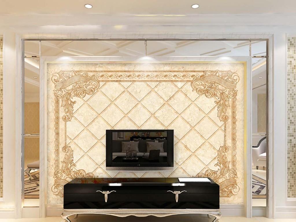 背景墙|装饰画 电视背景墙 欧式电视背景墙 > 欧式花纹大理石电视背景图片