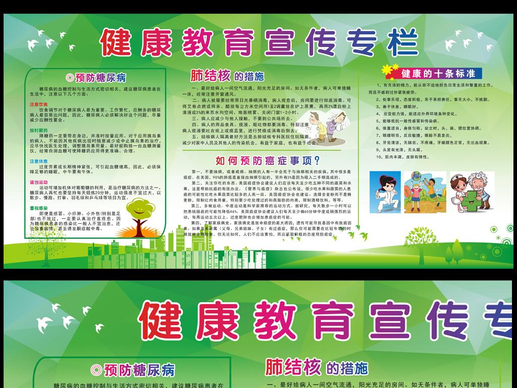 绿色时尚健康教育宣传专栏社区医院板报