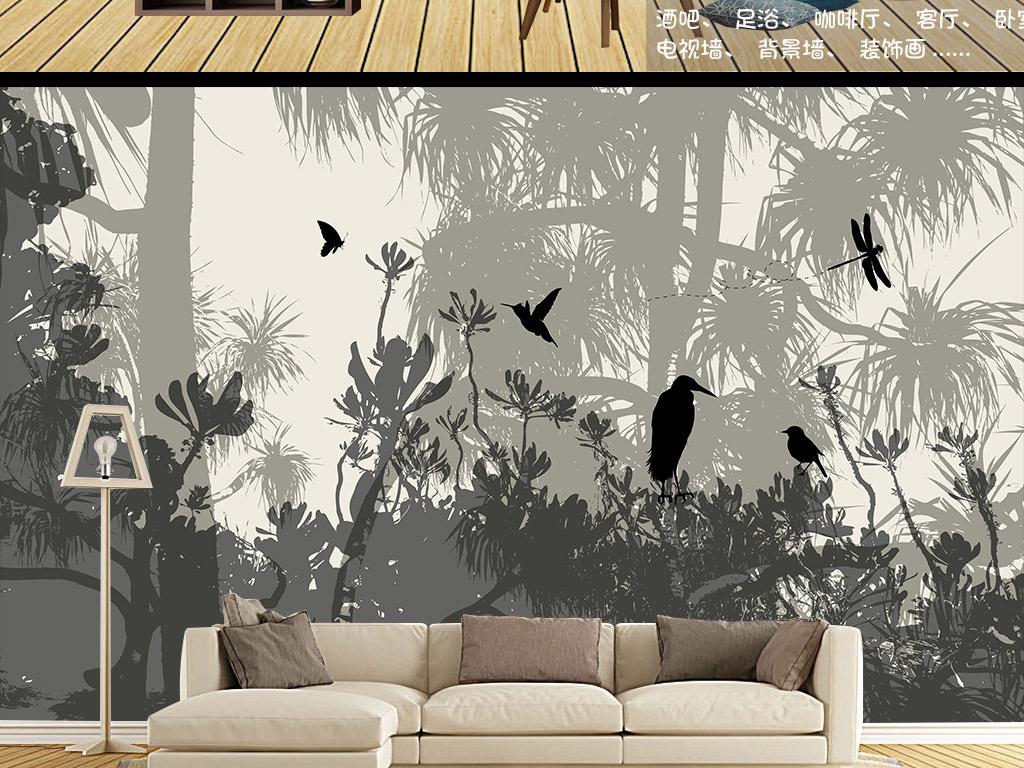 北欧风格树林剪影背景墙装饰画墙纸
