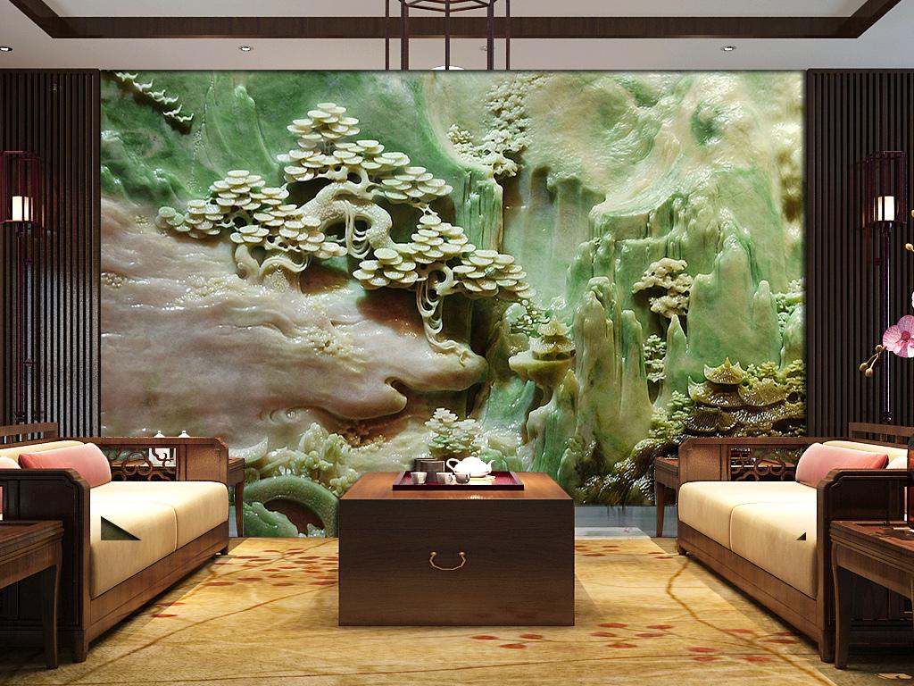 玉雕山水画中式背景墙带路径(图片编号:15604417)_墙图片