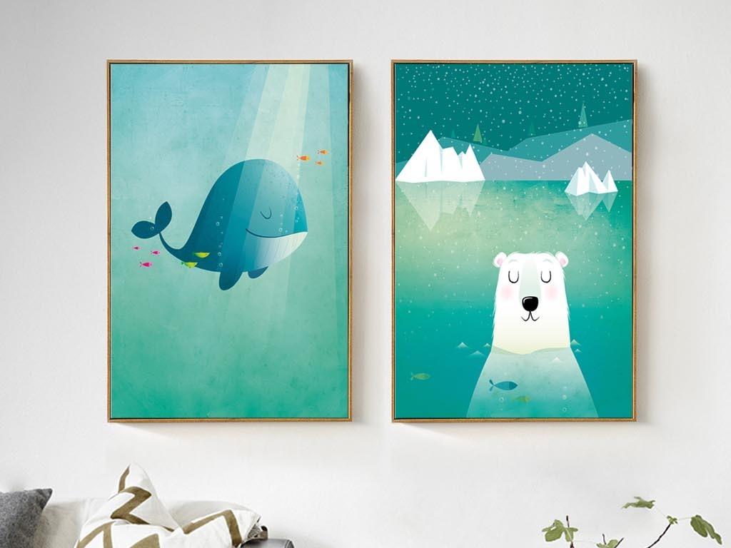 背景墙|装饰画 无框画 动物图案无框画 > 北欧风格简约卡通海洋鲸鱼
