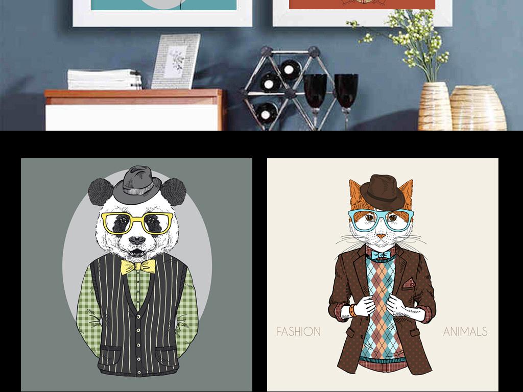 北欧时尚动物麋鹿手绘动物酒吧矢量装饰画