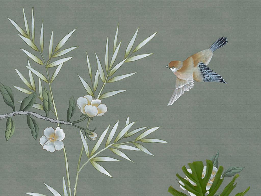 欧式皇家新中式手绘工笔花鸟玄关壁画背景墙