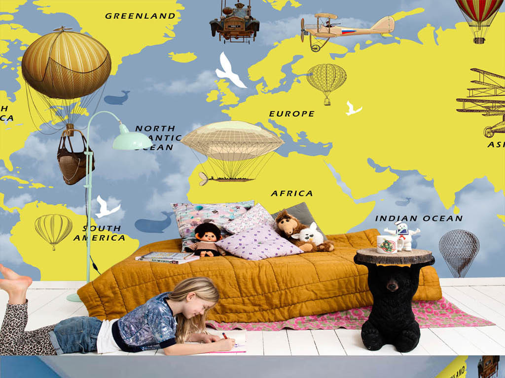 手绘世界地图热气球儿童房酒吧背景墙