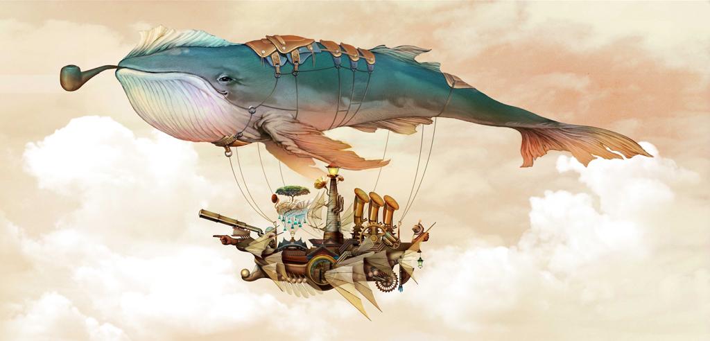 手绘卡通梦幻鲸鱼儿童背景