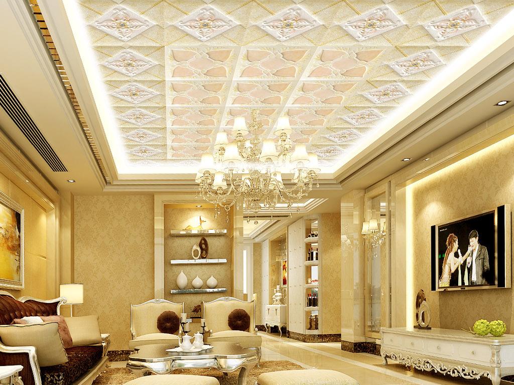 高清欧式奢华立体砂岩浮雕花纹集成吊顶壁画