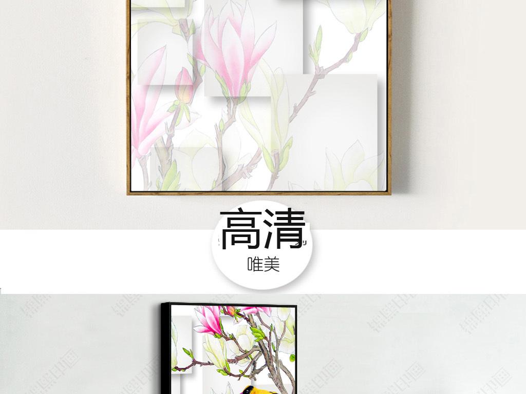 新中式花鸟油画装饰画
