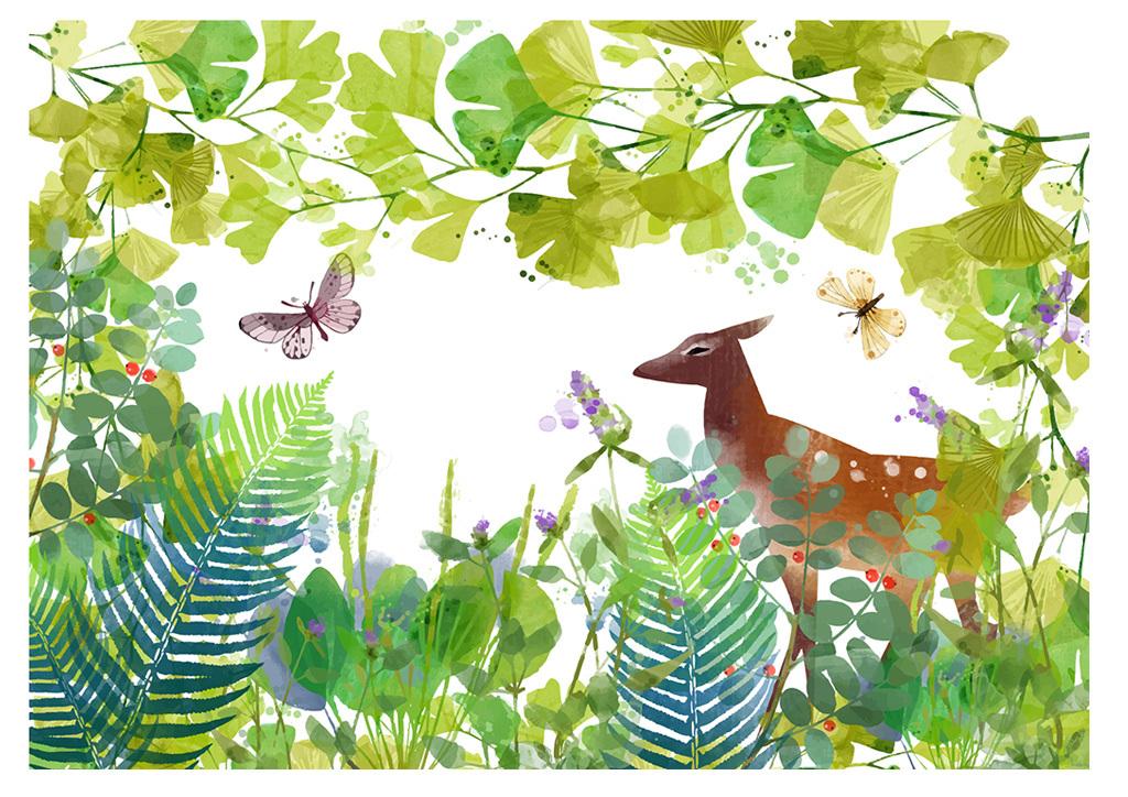 水彩森林麋鹿背景墙