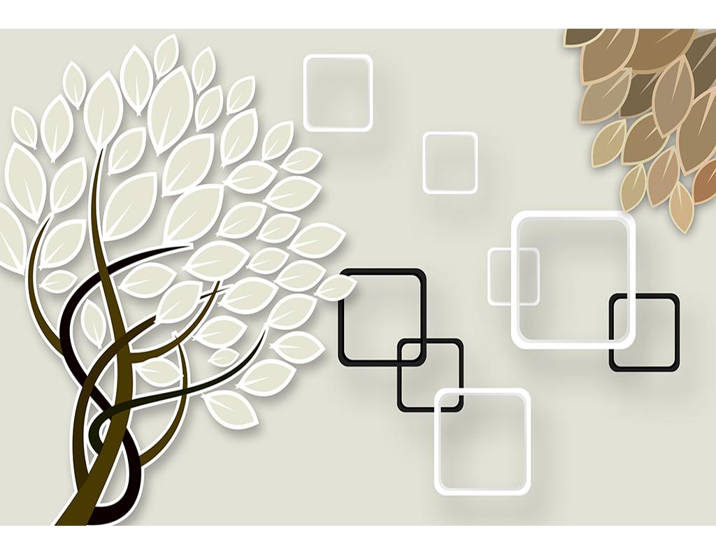 现代简约抽象树木方框背景墙