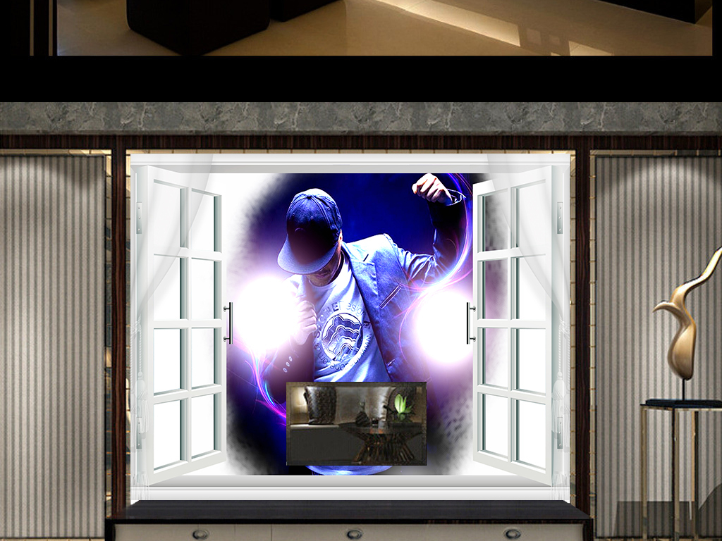 照片背景墙艺术大画窗边客厅背景墙装饰画图图片