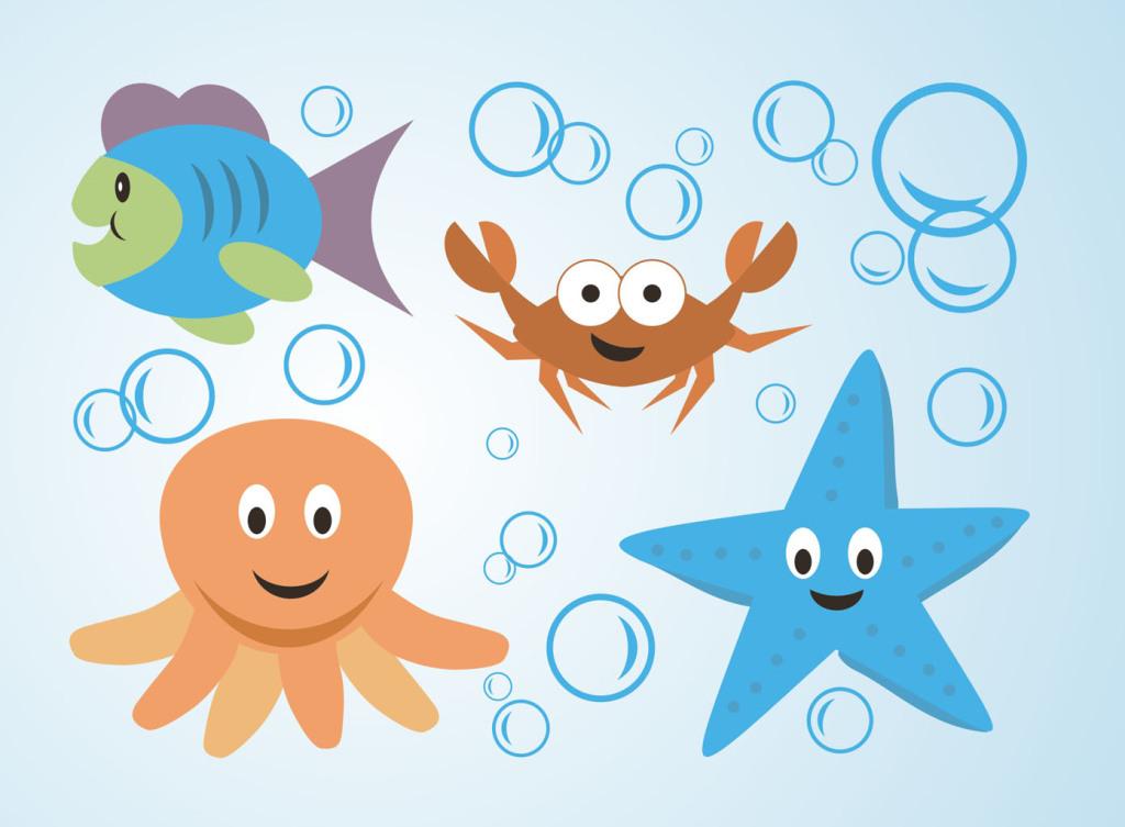 海底世界海洋生物动物cdr矢量素材