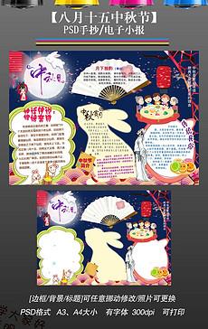 中秋节小报古诗读书月饼文化手抄电子小报