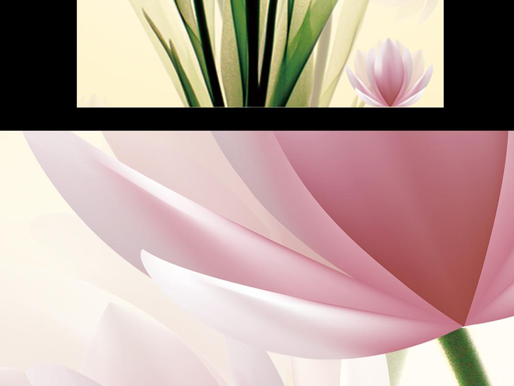 唯美手绘莲花浪漫玄关