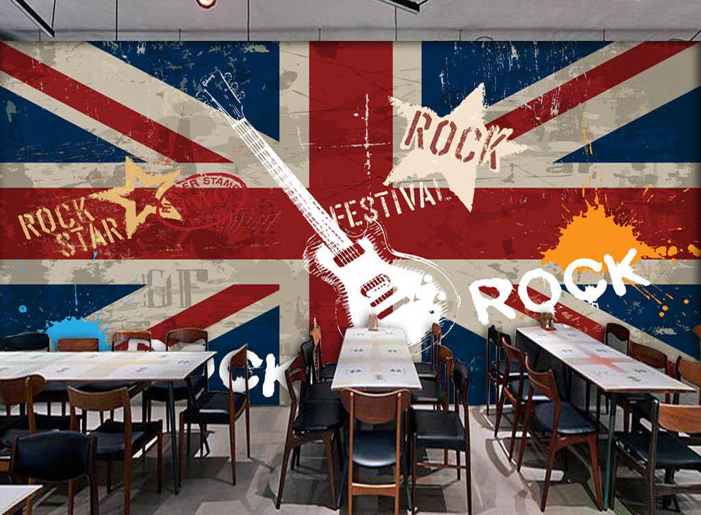 手绘英文字母摇滚音乐主题五角星吉他涂鸦电视背景墙图片玻璃电视背景