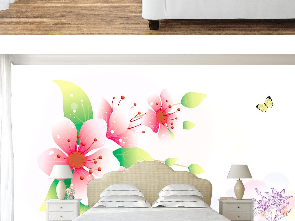 唯美高清手绘绚丽桃花室内壁纸墙纸