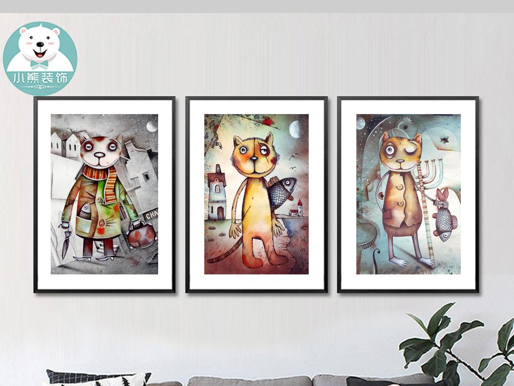 高清手绘卡通动漫猫吃鱼时尚装饰画