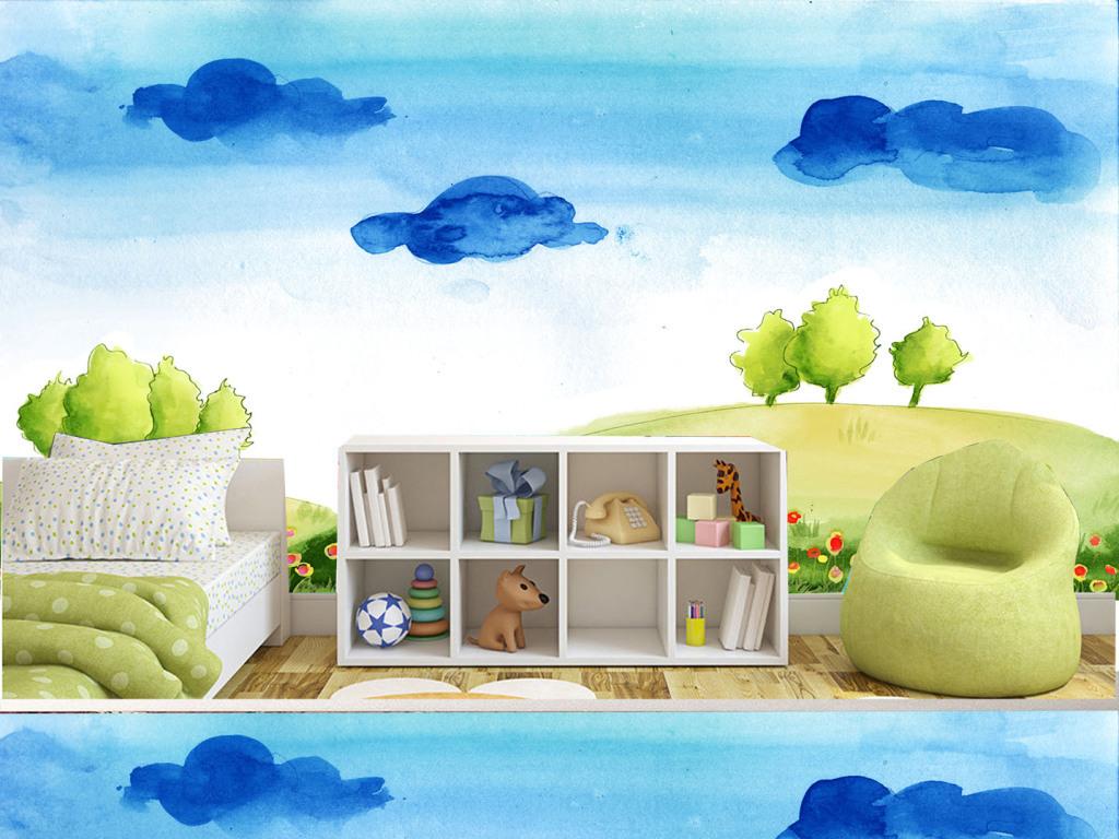 设计作品简介: 手绘蓝色云朵儿童房背景墙 矢量图, rgb格式高清大图