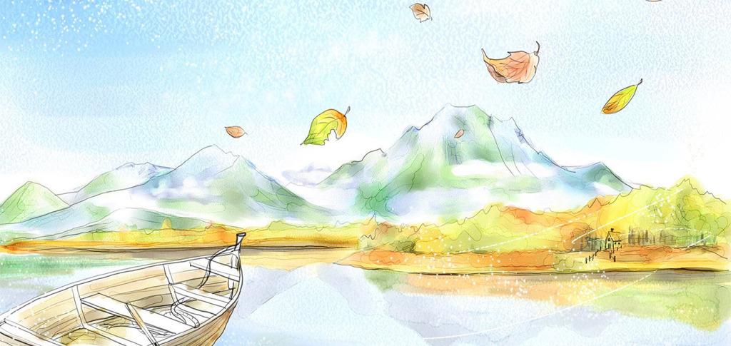 手绘枫叶儿童房背景墙