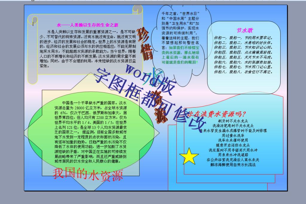 word格式a4珍惜水资源电子小报手抄报