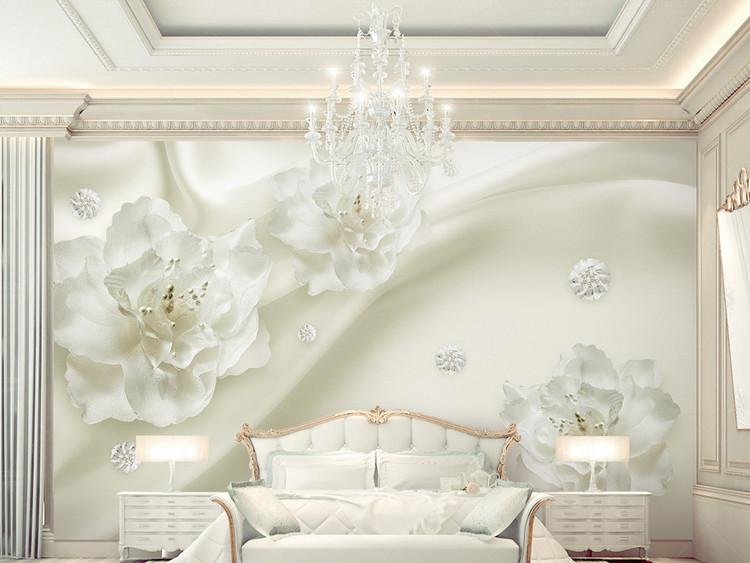 唯美丝绸花朵欧式风格3d立体电视背景墙