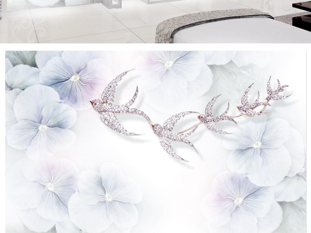 3d轻奢淡紫色飞鸟三色堇手绘电视背景墙