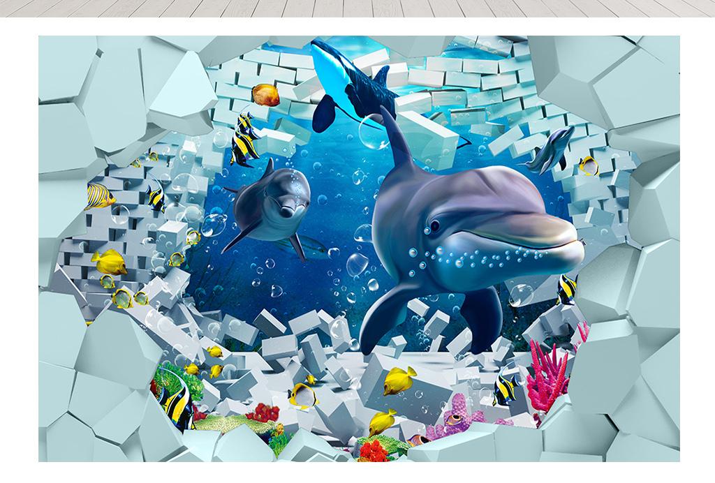 海豚3d立体破洞背景墙