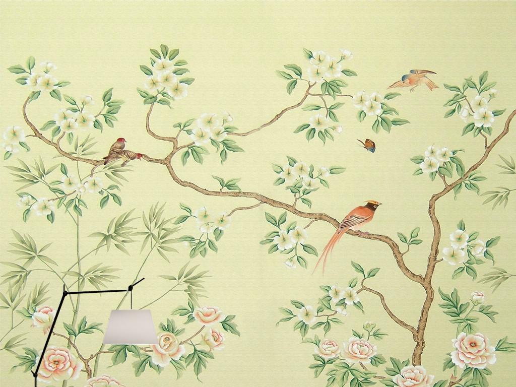 欧式怀旧新中式手绘工笔花鸟田园壁画背景墙(图片编号