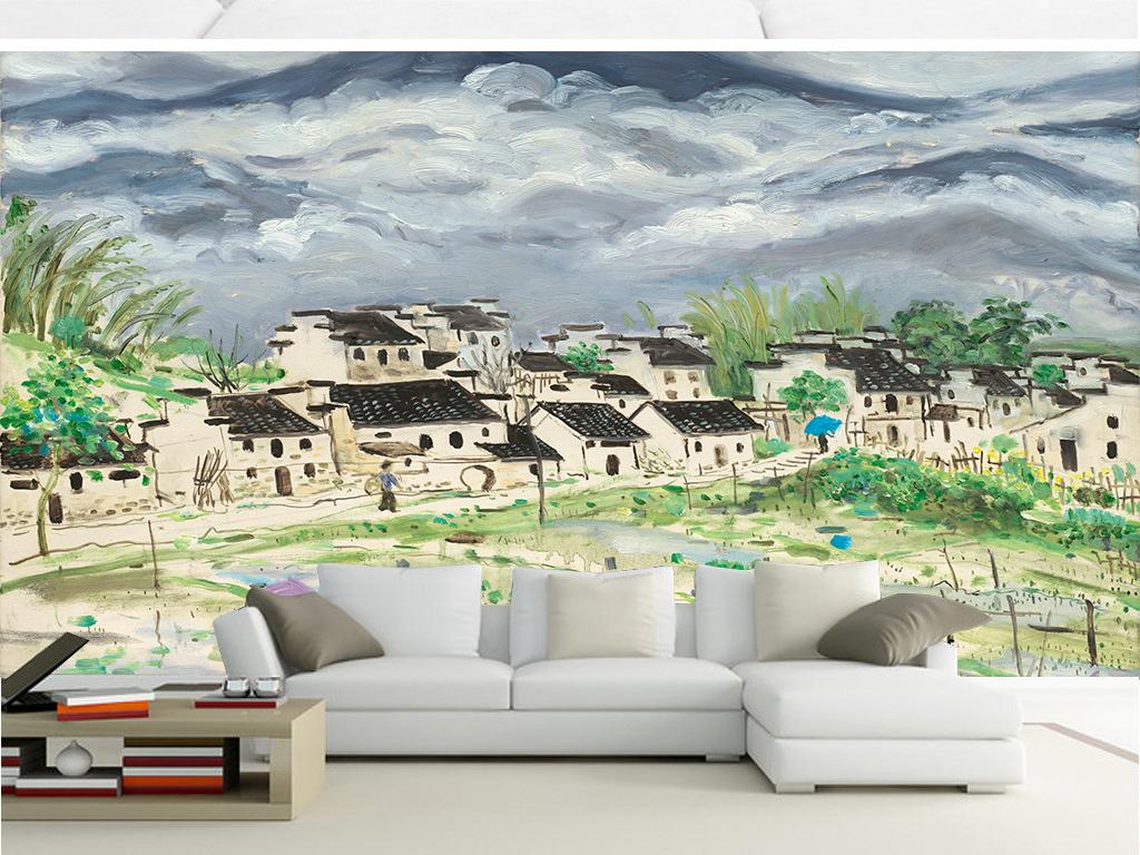 水墨手绘田园房屋风景壁画