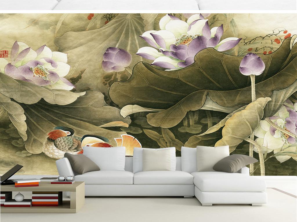 墙体手绘工笔画茶楼壁画鸳鸯荷花中式新中式壁画壁纸墙纸山水国画国画