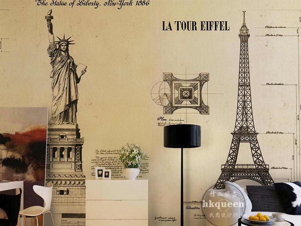 巴黎铁塔女神像复古怀旧                                  唯美风景