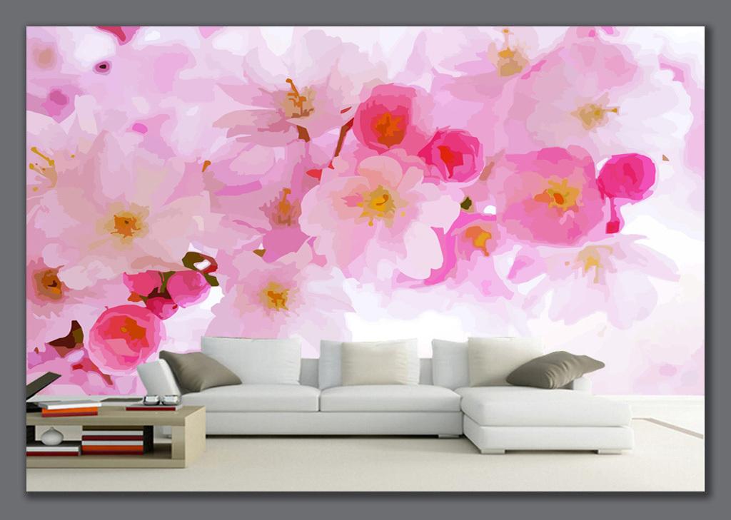 手绘樱花背景墙