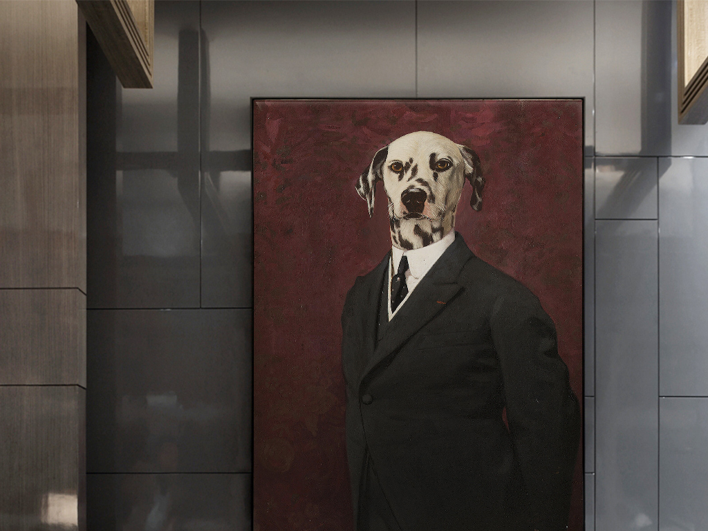 欧式复古怀旧抽象小狗头像绅士西装装饰画