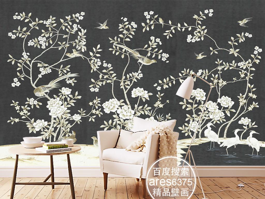 欧式新中式手绘工笔花鸟仙鹤田园壁画背景墙