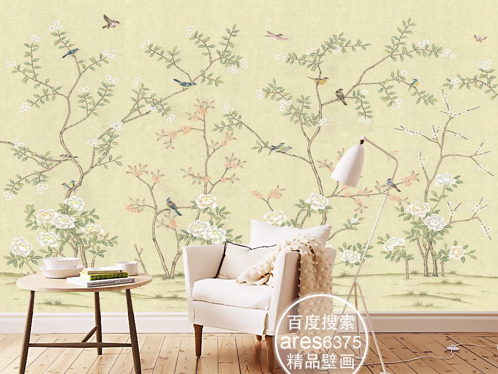 欧式新中式手绘工笔花鸟牡丹田园壁画背