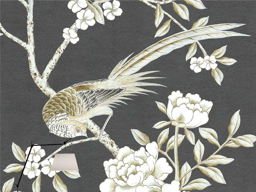 欧式黑白新中式手绘工笔花鸟牡丹壁画背景墙