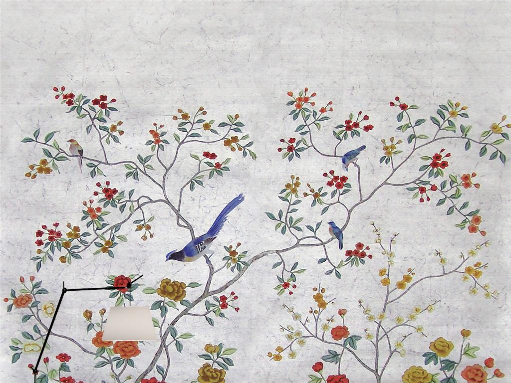 欧式新中式手绘工笔花鸟银箔田园壁画背景墙(图片编号