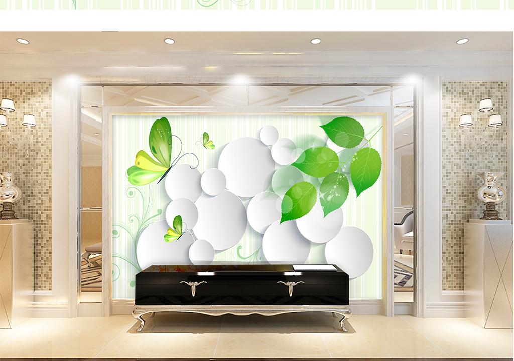 现代简约3D立体绿叶圆圈背景墙图片