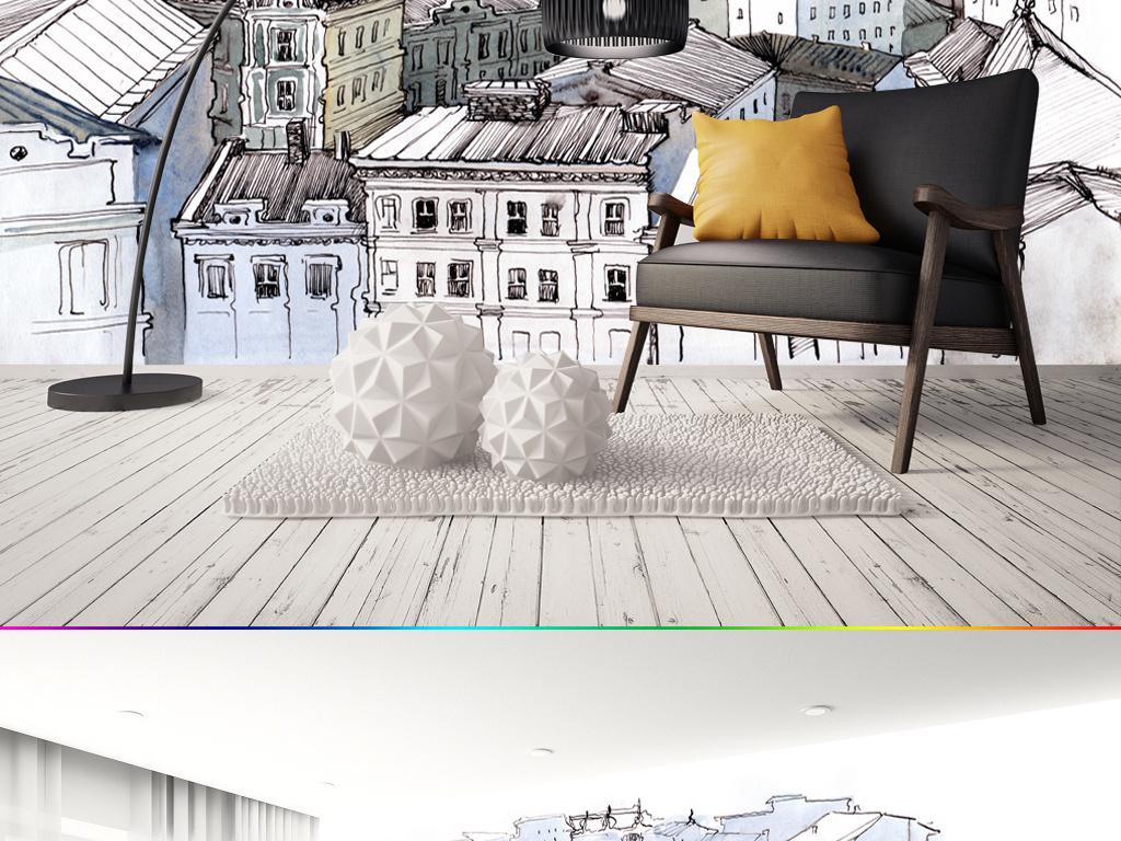 背景墙|装饰画 电视背景墙 手绘电视背景墙 > 欧式复古简约城市建筑
