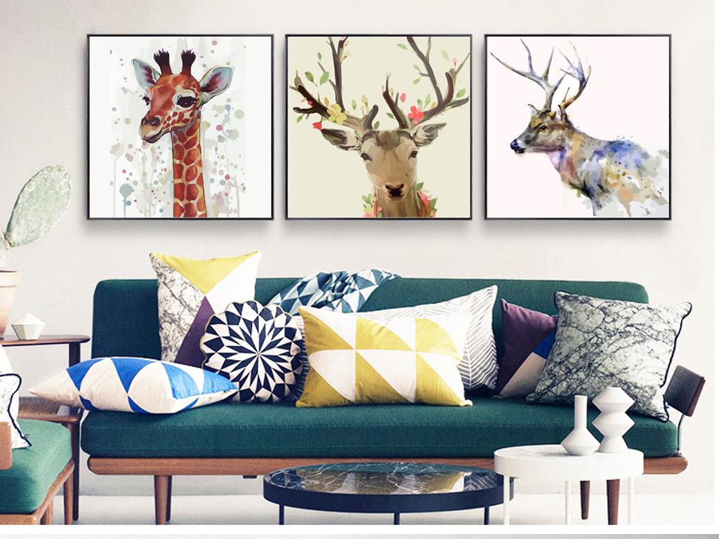 背景墙|装饰画 无框画 卡通动漫无框画 > 现代北欧麋鹿马鹿油画装饰画图片