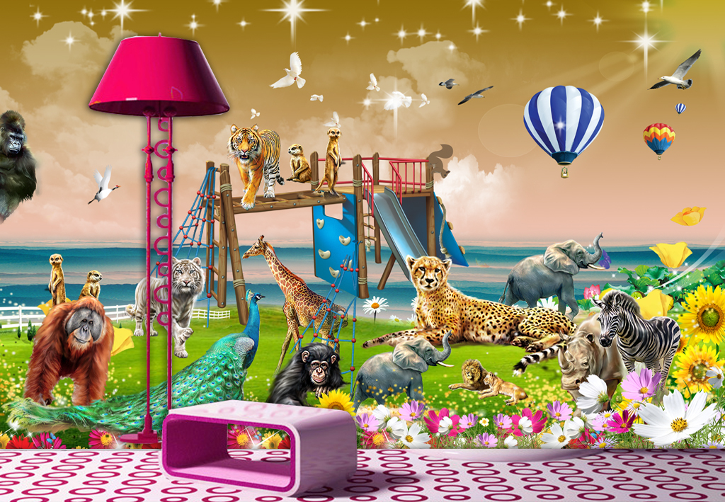 动物总动员唯美儿童房背景墙壁画
